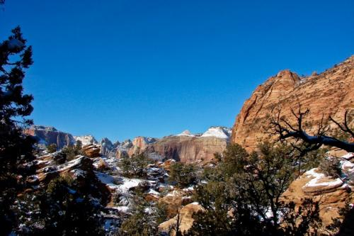 Patches of snow cover the trail to the Canyon Lookout in Zion National Park, Utah, on Thursday, Dec. 24.
