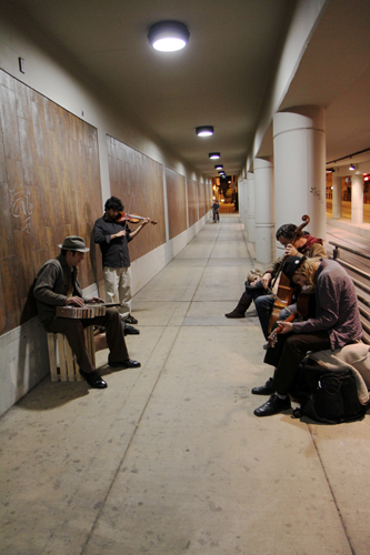 The Missing parts, an alternative folk band, performs in the Fourth Avenue underpass. The group can be heard and seen every Thursday, Friday and Saturday nights.