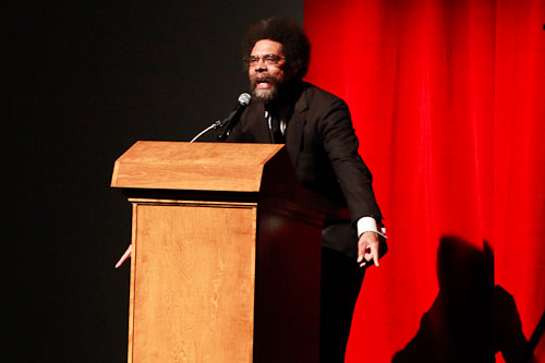 Dr. Cornell West speaks about social injustice in a packed Centennial Hall at the University of Arizona. Photograph by John de DIos © 2011