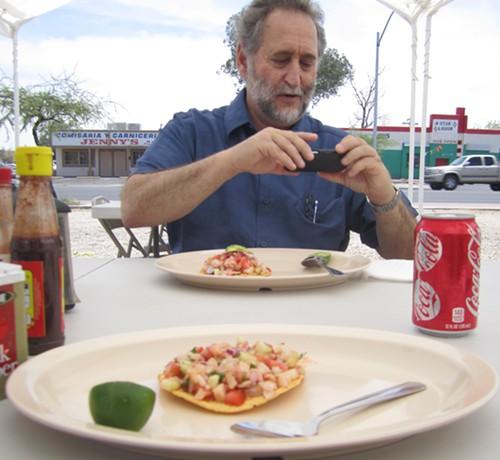 Janos Wilder and seafood tostadas at Mariscos El Primo.