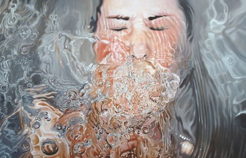 Linnea Strid, Drowning Artist #4, oil on wood panel