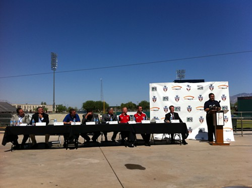 The panel at the Desert Cup announcement at Kino Sports Complex.